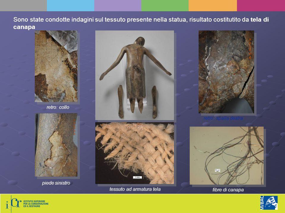 piede sinistro retro: collo retro: spalla destra Sono state condotte indagini sul tessuto presente nella statua, risultato costitutito da tela di canapa tessuto ad armatura tela fibre di canapa