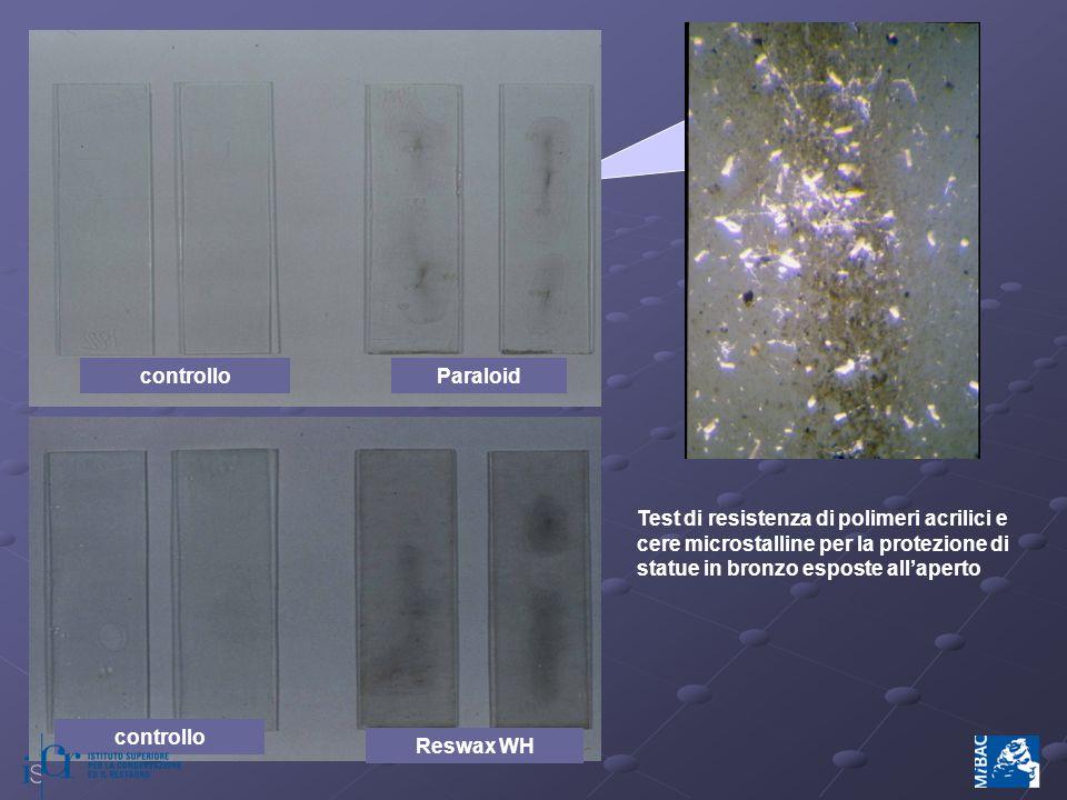 controlloParaloid controllo Reswax WH Test di resistenza di polimeri acrilici e cere microstalline per la protezione di statue in bronzo esposte all'aperto