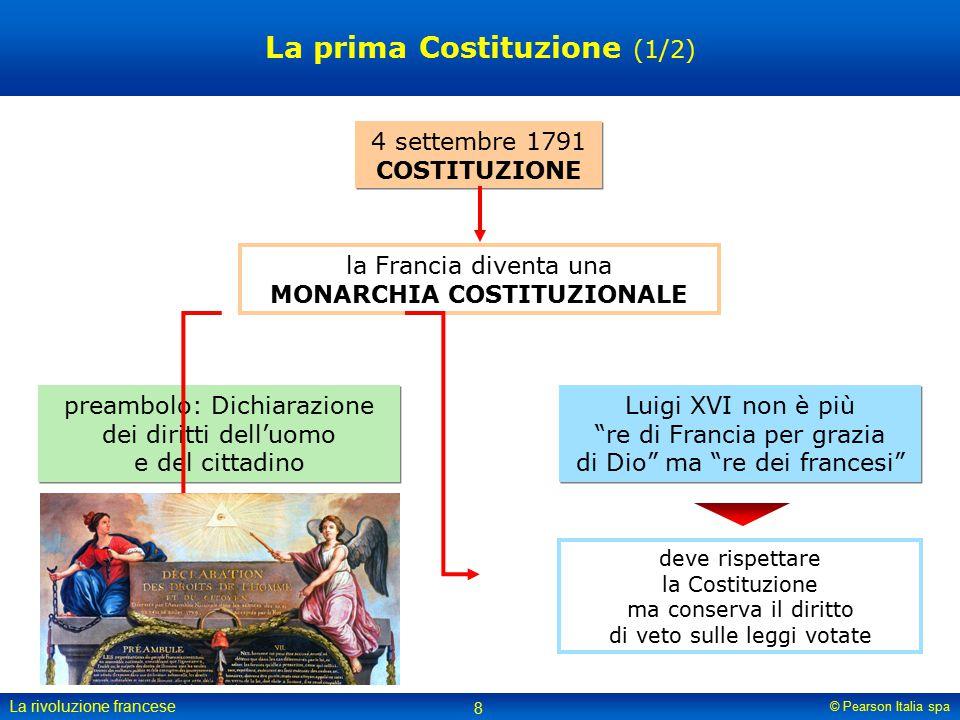 © Pearson Italia spa La rivoluzione francese 8 La prima Costituzione (1/2) 4 settembre 1791 COSTITUZIONE la Francia diventa una MONARCHIA COSTITUZIONA