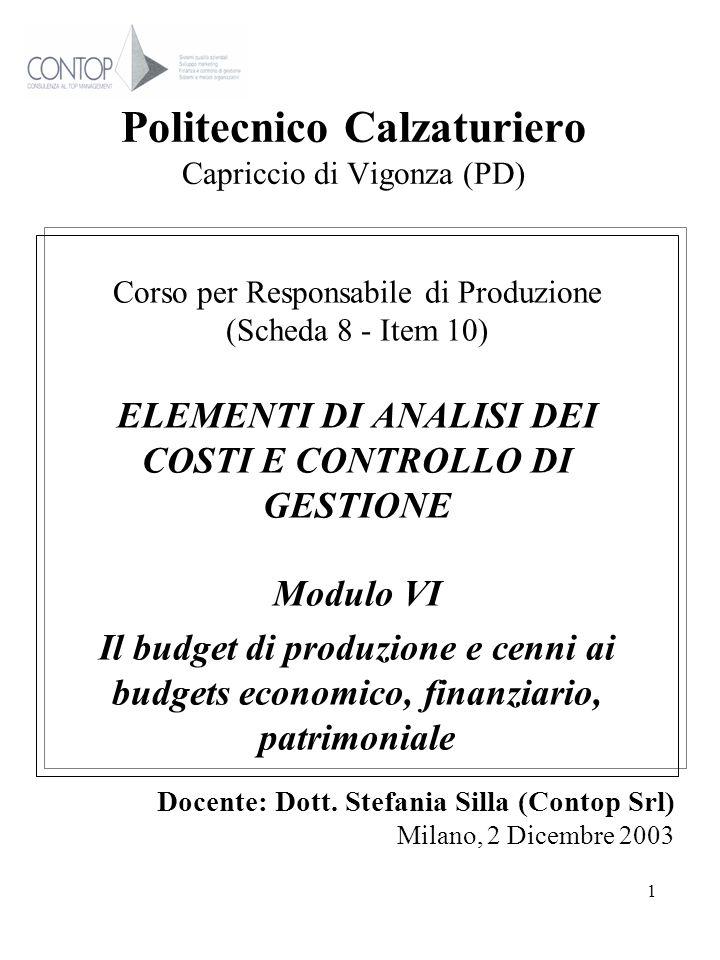 1 Politecnico Calzaturiero Capriccio di Vigonza (PD) Corso per Responsabile di Produzione (Scheda 8 - Item 10) ELEMENTI DI ANALISI DEI COSTI E CONTROL