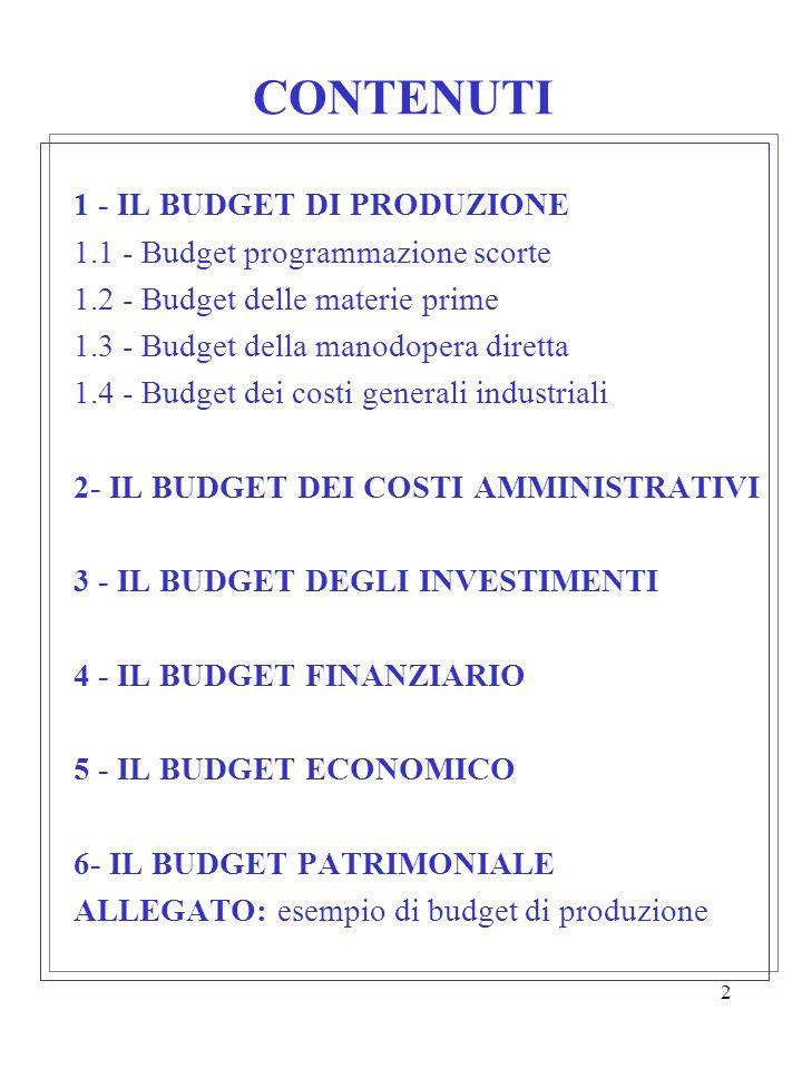 2 CONTENUTI 1 - IL BUDGET DI PRODUZIONE 1.1 - Budget programmazione scorte 1.2 - Budget delle materie prime 1.3 - Budget della manodopera diretta 1.4