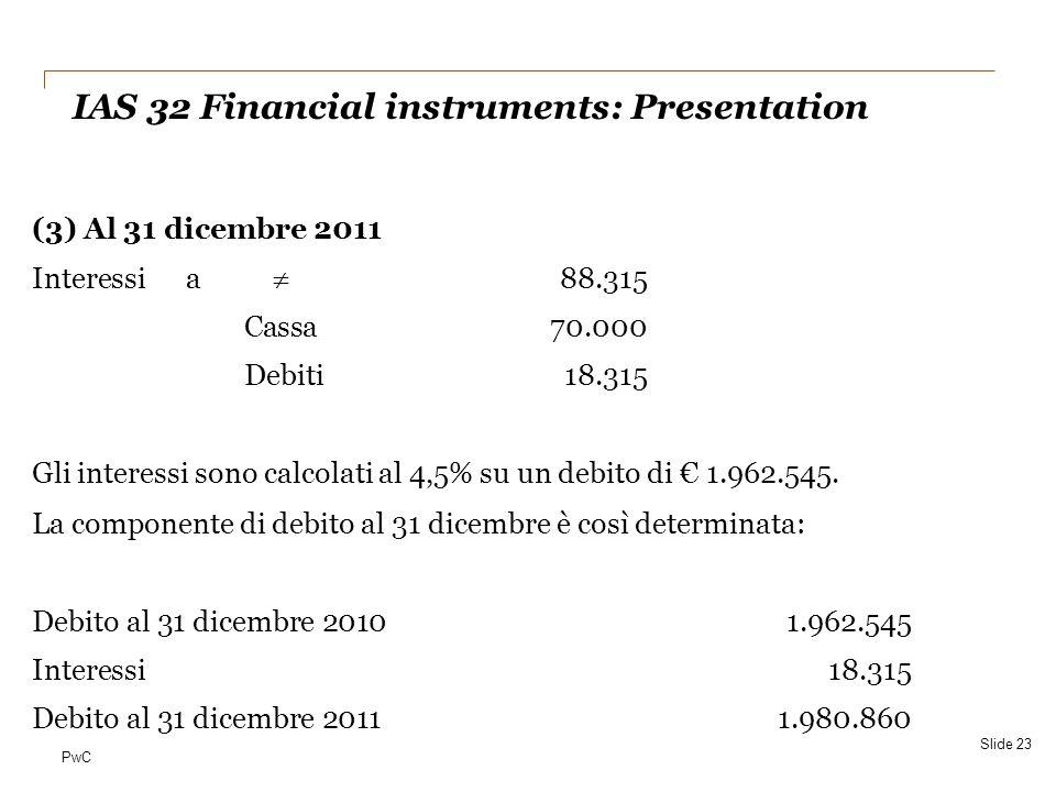 PwC (3) Al 31 dicembre 2011 Interessi a  88.315 Cassa70.000 Debiti18.315 Gli interessi sono calcolati al 4,5% su un debito di € 1.962.545. La compone