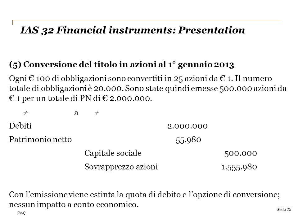 PwC (5) Conversione del titolo in azioni al 1° gennaio 2013 Ogni € 100 di obbligazioni sono convertiti in 25 azioni da € 1. Il numero totale di obblig
