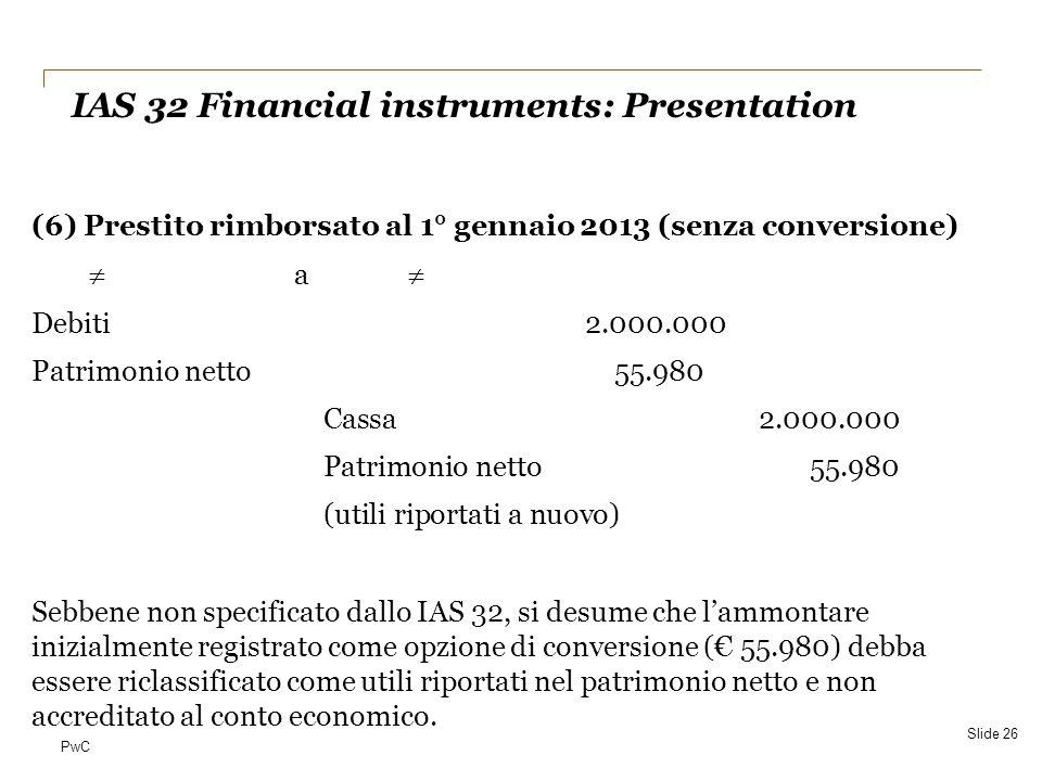PwC (6) Prestito rimborsato al 1° gennaio 2013 (senza conversione)  a  Debiti2.000.000 Patrimonio netto55.980 Cassa2.000.000 Patrimonio netto55.980