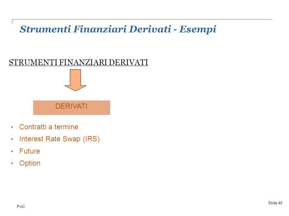 PwC Strumenti Finanziari Derivati - Esempi Slide 40 STRUMENTI FINANZIARI DERIVATI Contratti a termine Interest Rate Swap (IRS) Future Option DERIVATI