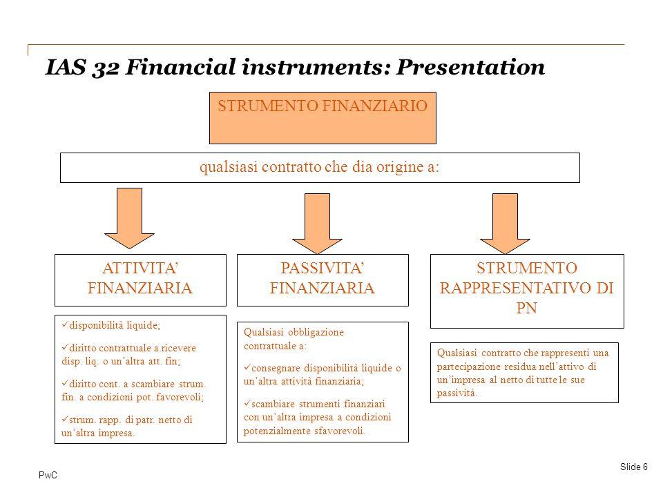 PwC IAS 32 Financial instruments: Presentation Slide 6 ATTIVITA' FINANZIARIA PASSIVITA' FINANZIARIA STRUMENTO RAPPRESENTATIVO DI PN disponibilità liqu