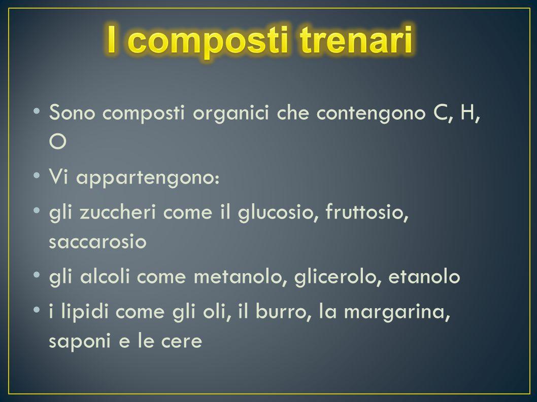 Sono composti organici che contengono C, H, O Vi appartengono: gli zuccheri come il glucosio, fruttosio, saccarosio gli alcoli come metanolo, glicerol