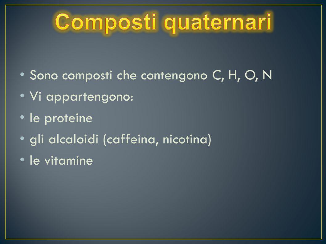 Sono composti che contengono C, H, O, N Vi appartengono: le proteine gli alcaloidi (caffeina, nicotina) le vitamine