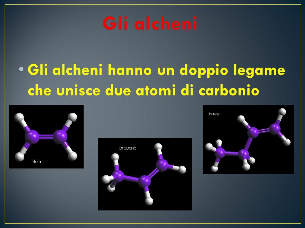 G li alcheni hanno un doppio legame che unisce due atomi di carbonio