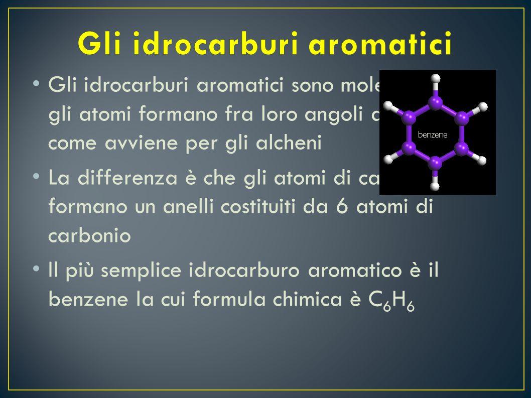 G li idrocarburi aromatici sono molecole in cui gli atomi formano fra loro angoli di 120° come avviene per gli alcheni L a differenza è che gli atomi