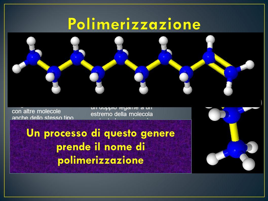 L'etilene avendo un doppio legame reagisce facilmente con altre molecole anche dello stesso tipo La molecola ottenuta (butene) contiene ancora un dopp