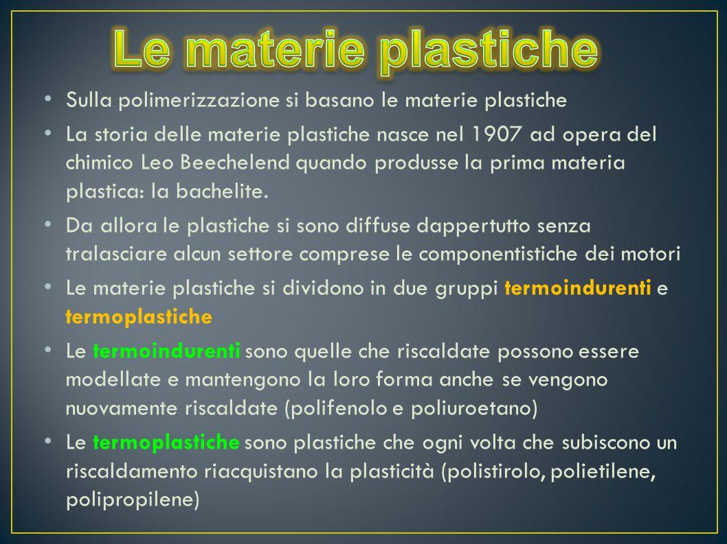 Sulla polimerizzazione si basano le materie plastiche La storia delle materie plastiche nasce nel 1907 ad opera del chimico Leo Beechelend quando prod