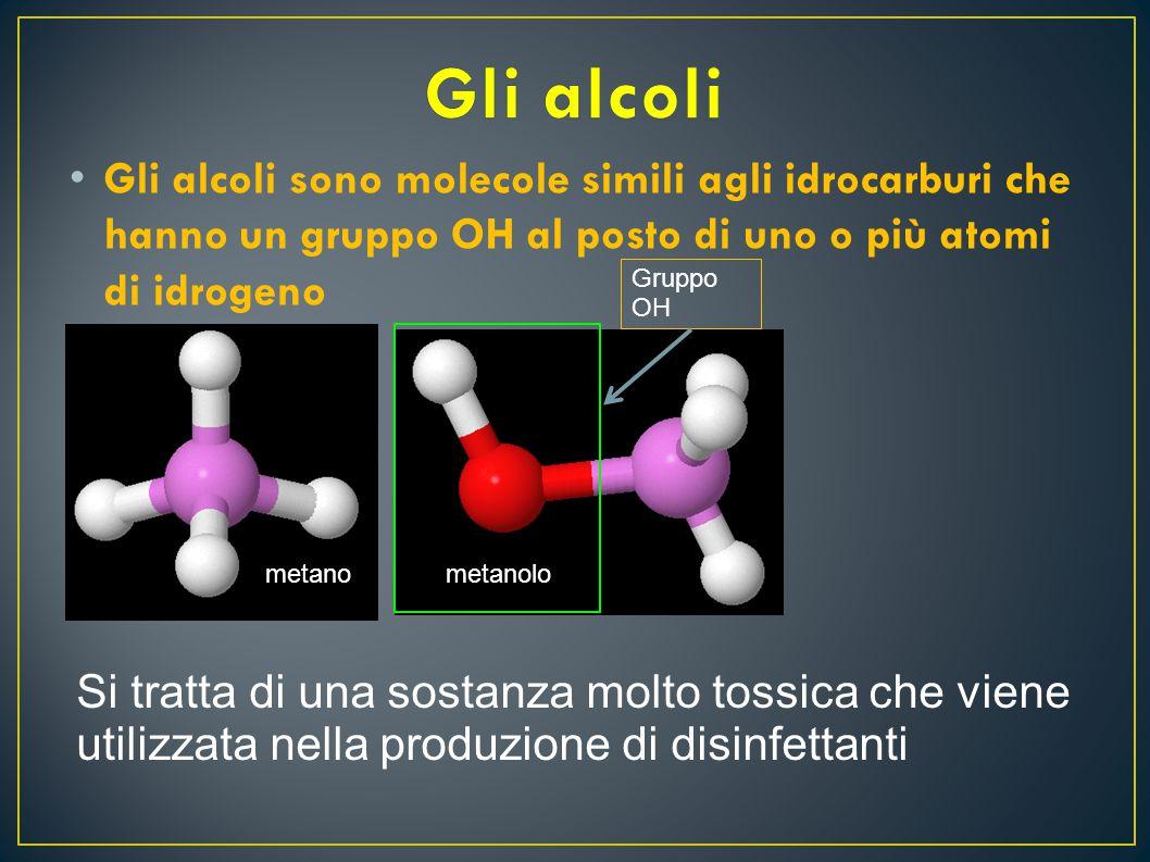 G li alcoli sono molecole simili agli idrocarburi che hanno un gruppo OH al posto di uno o più atomi di idrogeno metano Gruppo OH metanolo Si tratta d