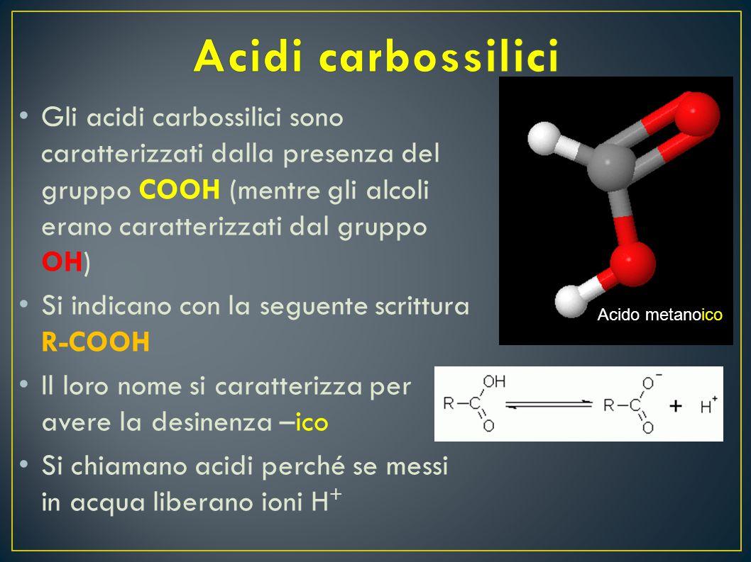 G li acidi carbossilici sono caratterizzati dalla presenza del gruppo COOH (mentre gli alcoli erano caratterizzati dal gruppo OH) S i indicano con la