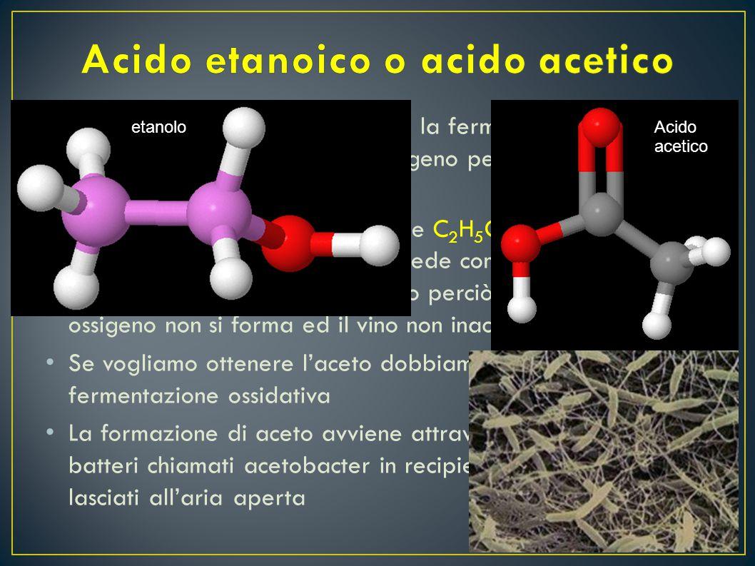La produzione di vino attraverso la fermentazione del mosto deve avvenire in assenza di ossigeno perché altrimenti l'etanolo si ossida Se prendiamo le