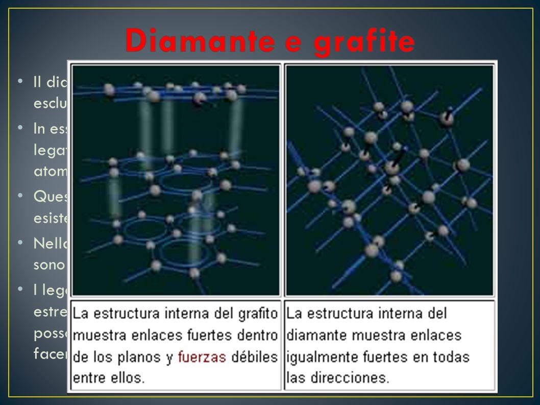 Il diamante è un minerale composto esclusivamente di carbonio In esso ciascun atomo di carbonio e legato covalentemente ad altri 4 atomi di carbonio Q