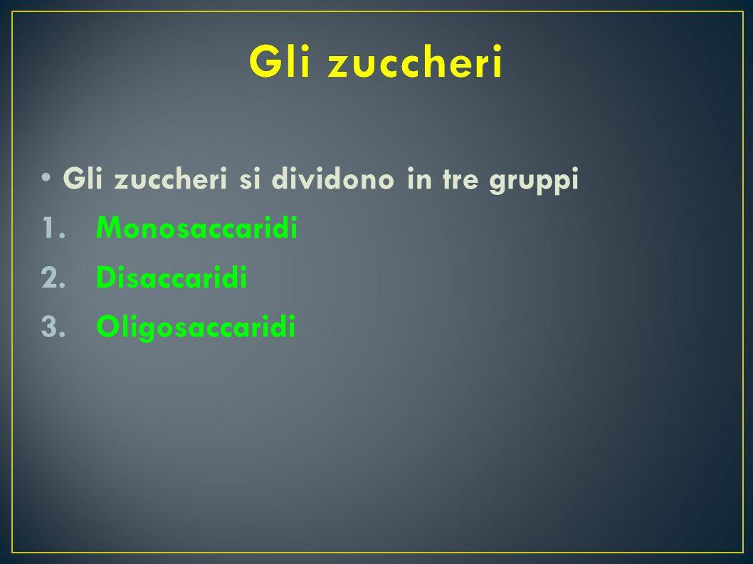 G li zuccheri si dividono in tre gruppi 1.Monosaccaridi 2.Disaccaridi 3.Oligosaccaridi