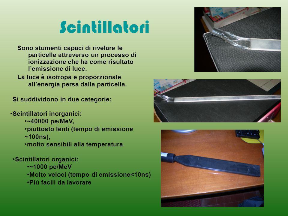 Scintillatori Sono stumenti capaci di rivelare le particelle attraverso un processo di ionizzazione che ha come risultato l'emissione di luce.