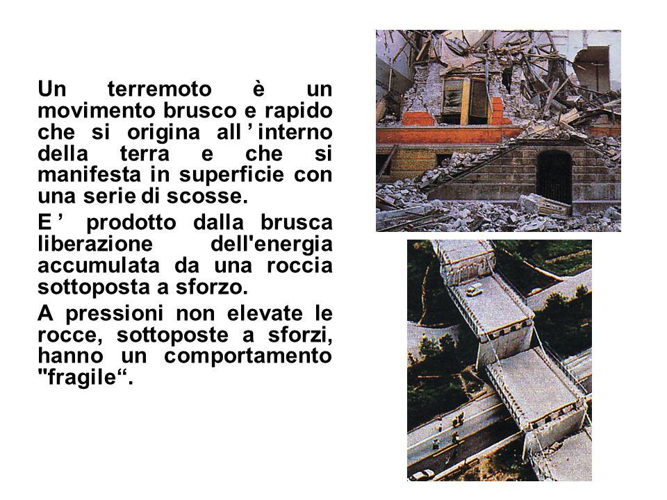 Un terremoto è un movimento brusco e rapido che si origina all'interno della terra e che si manifesta in superficie con una serie di scosse. E' prodot
