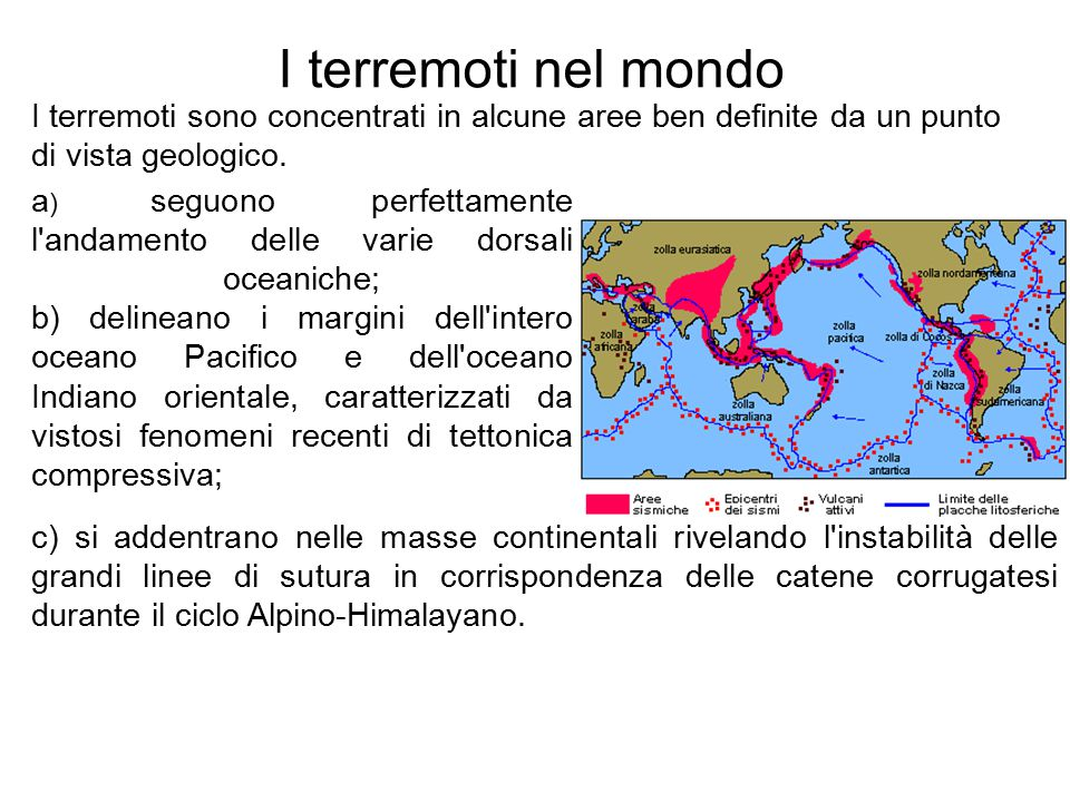 I terremoti nel mondo a ) seguono perfettamente l'andamento delle varie dorsali oceaniche; b) delineano i margini dell'intero oceano Pacifico e dell'o
