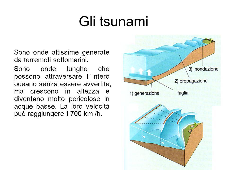 Gli tsunami Sono onde altissime generate da terremoti sottomarini. Sono onde lunghe che possono attraversare l'intero oceano senza essere avvertite, m