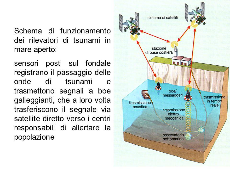Schema di funzionamento dei rilevatori di tsunami in mare aperto: sensori posti sul fondale registrano il passaggio delle onde di tsunami e trasmetton