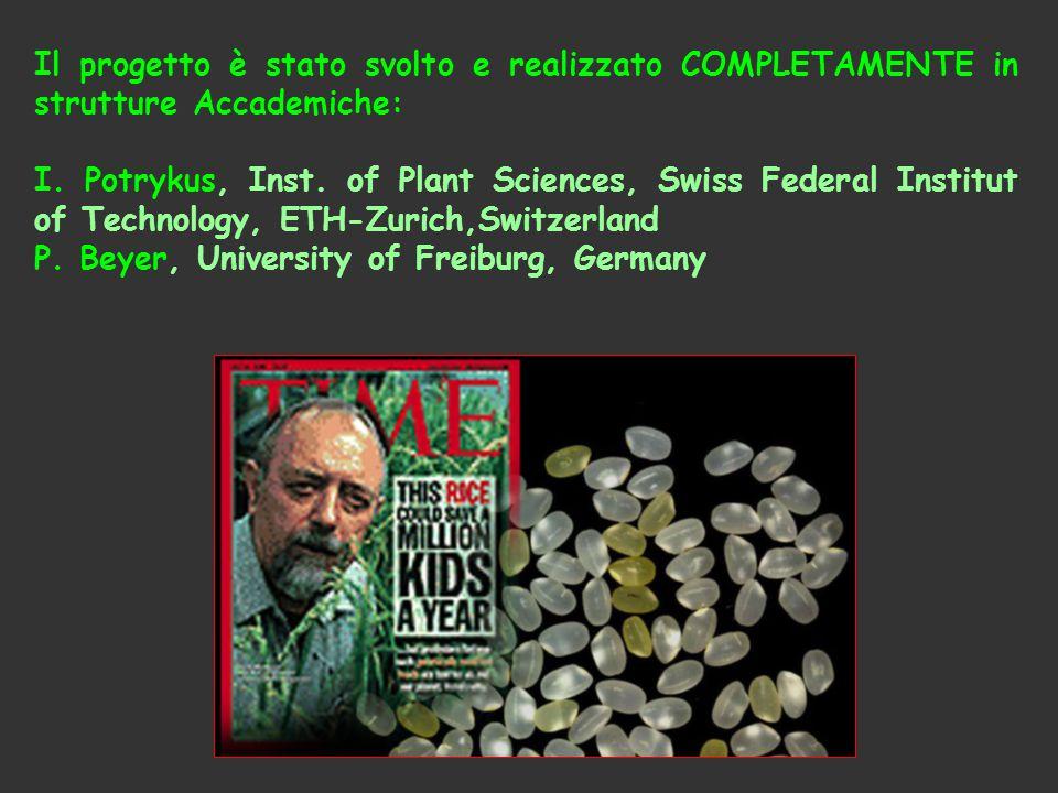 Il progetto è stato svolto e realizzato COMPLETAMENTE in strutture Accademiche: I. Potrykus, Inst. of Plant Sciences, Swiss Federal Institut of Techno