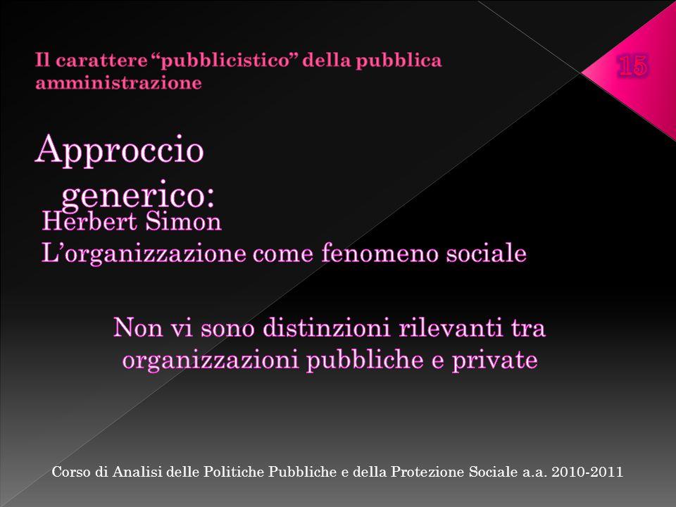 Corso di Analisi delle Politiche Pubbliche e della Protezione Sociale a.a. 2010-2011