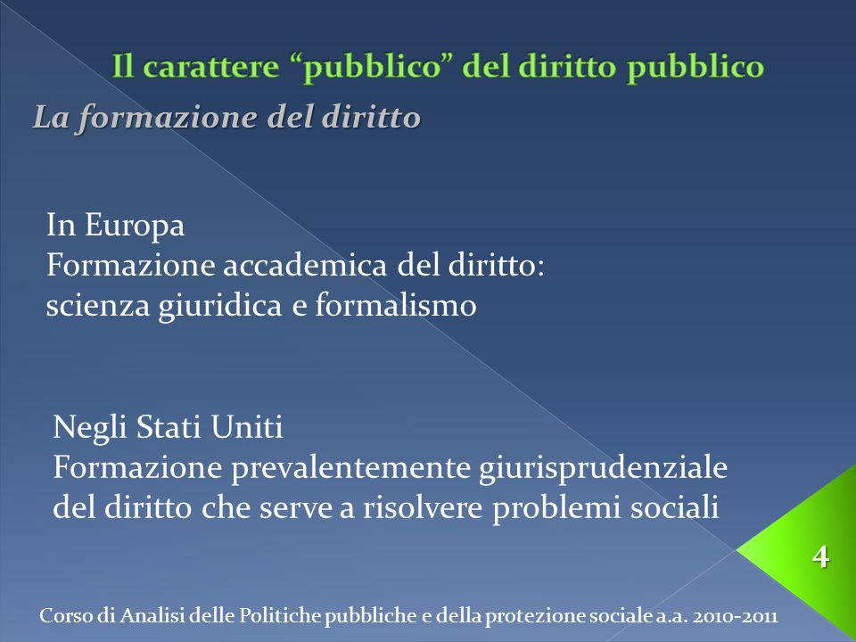 Corso di Analisi delle Politiche pubbliche e della protezione sociale a.a. 2010-2011 4 La formazione del diritto In Europa Formazione accademica del d