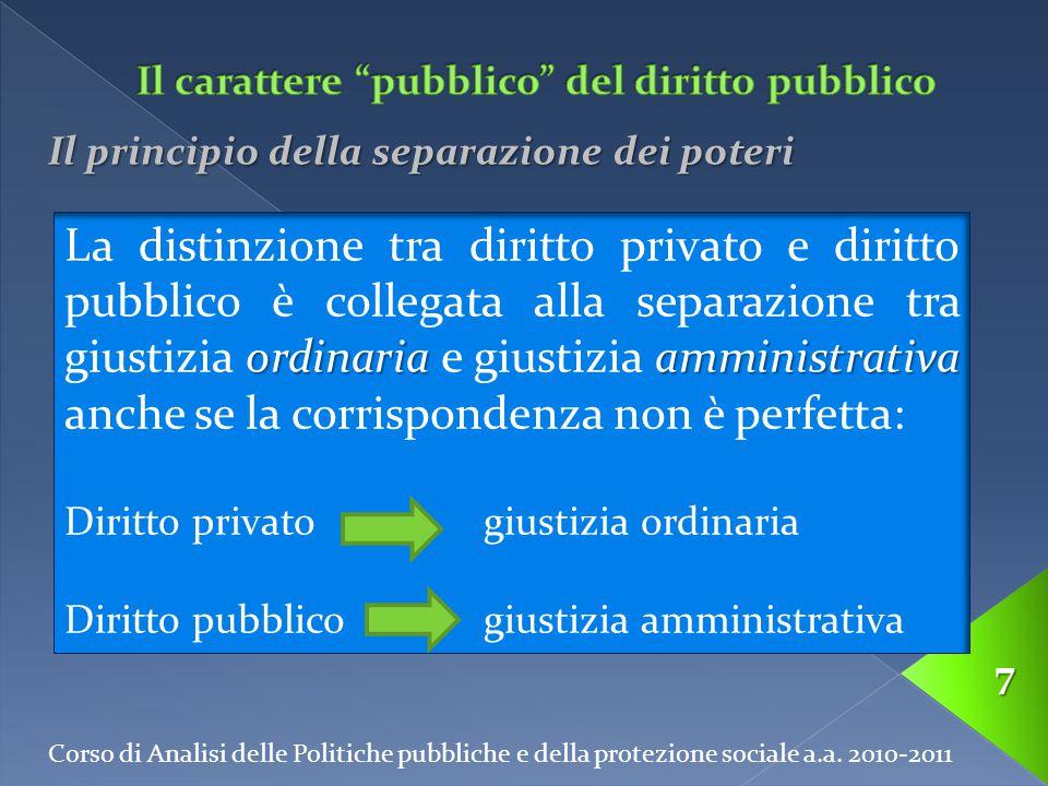 Corso di Analisi delle Politiche pubbliche e della protezione sociale a.a. 2010-2011 7 Il principio della separazione dei poteri ordinariaamministrati
