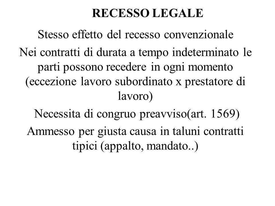 RECESSO LEGALE Stesso effetto del recesso convenzionale Nei contratti di durata a tempo indeterminato le parti possono recedere in ogni momento (eccezione lavoro subordinato x prestatore di lavoro) Necessita di congruo preavviso(art.