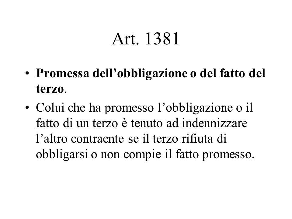 Art.1381 Promessa dell'obbligazione o del fatto del terzo.