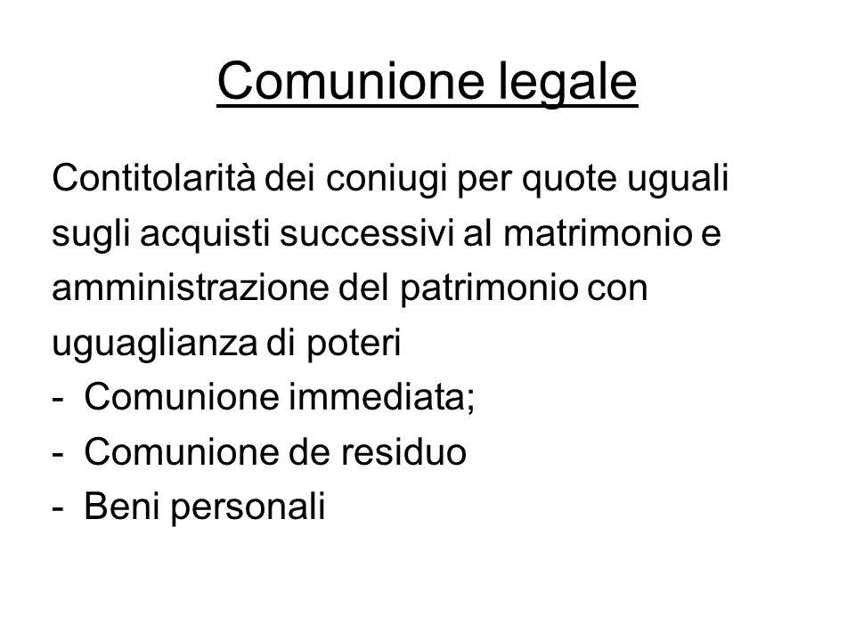 Comunione legale Contitolarità dei coniugi per quote uguali sugli acquisti successivi al matrimonio e amministrazione del patrimonio con uguaglianza d