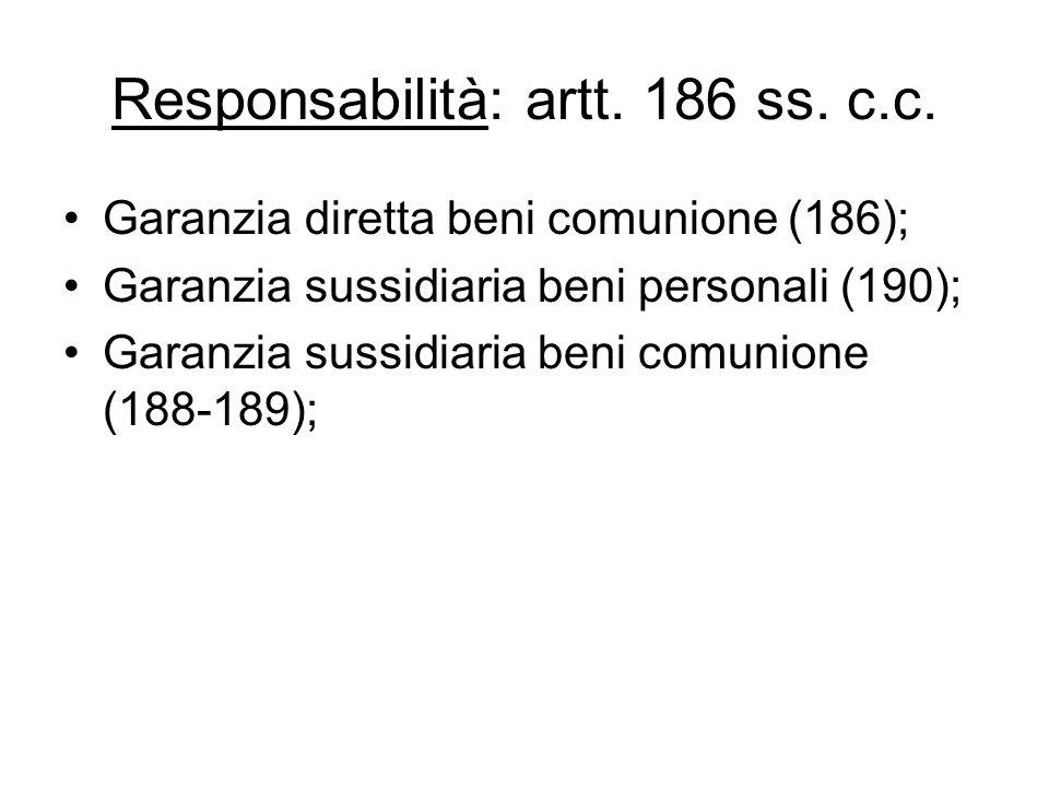 Responsabilità: artt. 186 ss. c.c. Garanzia diretta beni comunione (186); Garanzia sussidiaria beni personali (190); Garanzia sussidiaria beni comunio