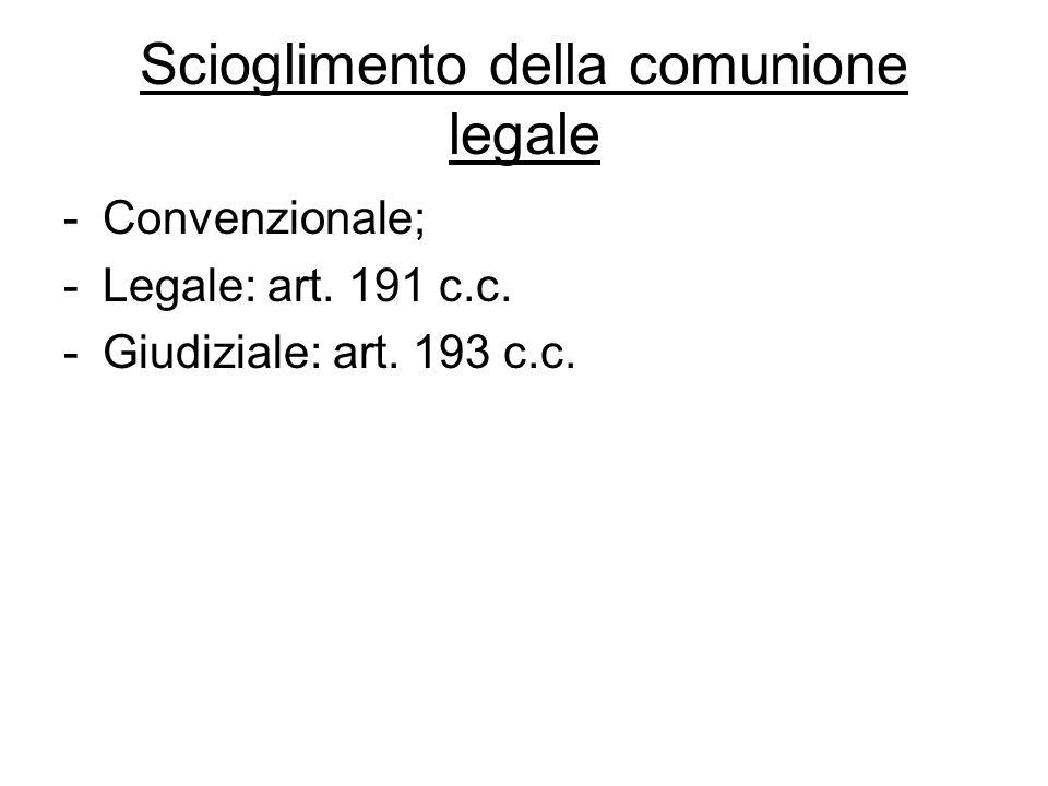 Scioglimento della comunione legale -Convenzionale; -Legale: art. 191 c.c. -Giudiziale: art. 193 c.c.