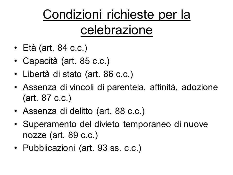 Condizioni richieste per la celebrazione Età (art. 84 c.c.) Capacità (art. 85 c.c.) Libertà di stato (art. 86 c.c.) Assenza di vincoli di parentela, a