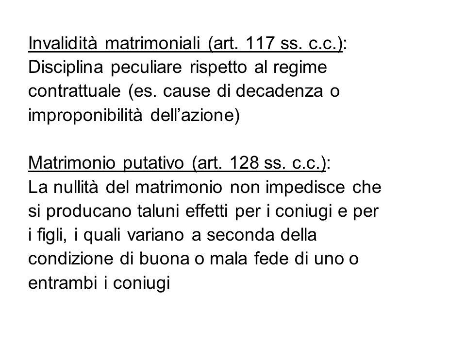Invalidità matrimoniali (art. 117 ss. c.c.): Disciplina peculiare rispetto al regime contrattuale (es. cause di decadenza o improponibilità dell'azion