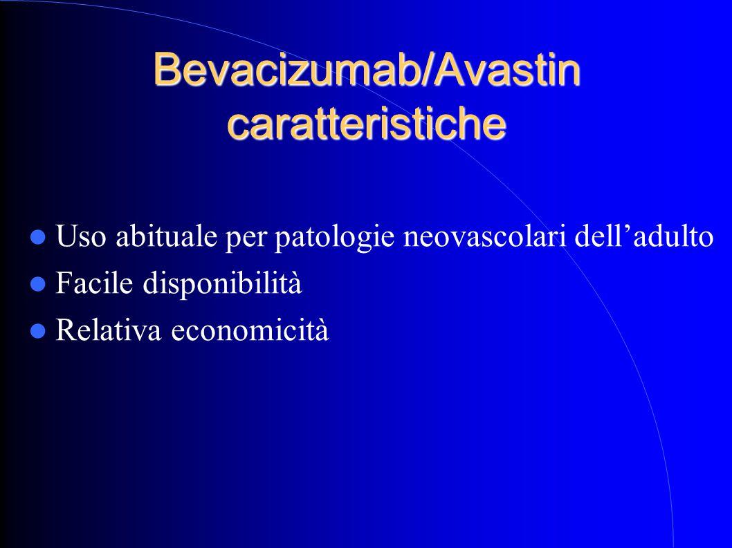 Bevacizumab/Avastin caratteristiche Uso abituale per patologie neovascolari dell'adulto Facile disponibilità Relativa economicità