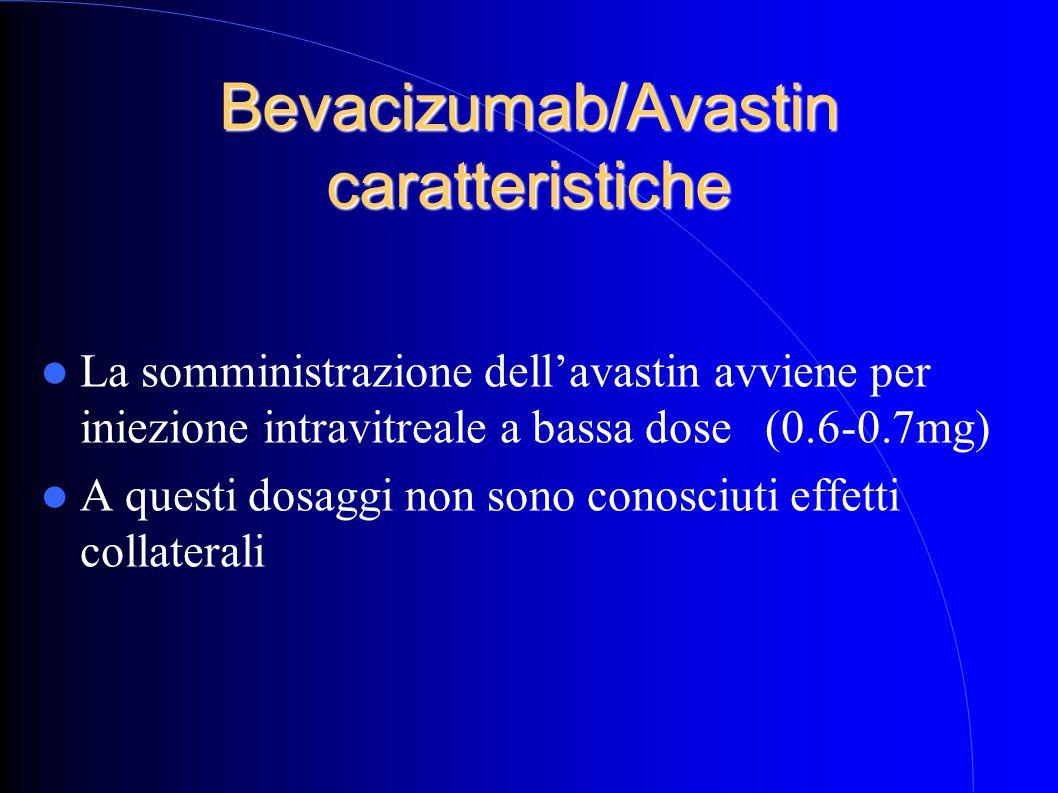 Bevacizumab/Avastin caratteristiche La somministrazione dell'avastin avviene per iniezione intravitreale a bassa dose (0.6-0.7mg) A questi dosaggi non