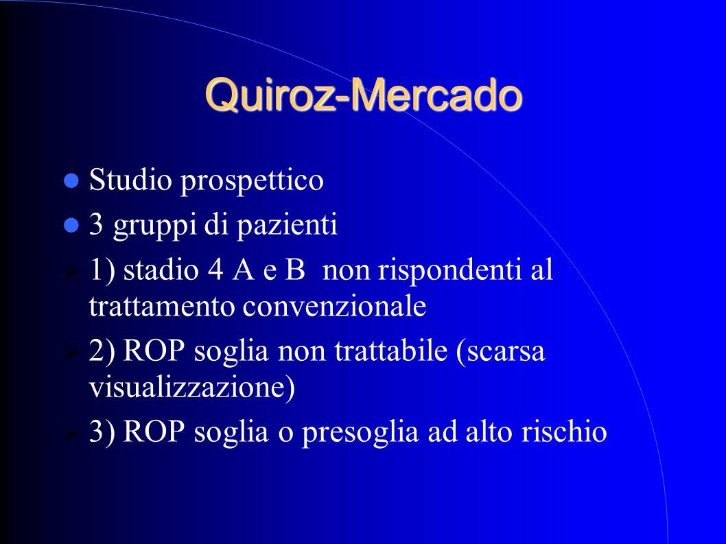 Quiroz-Mercado Studio prospettico 3 gruppi di pazienti  1) stadio 4 A e B non rispondenti al trattamento convenzionale  2) ROP soglia non trattabile (scarsa visualizzazione)  3) ROP soglia o presoglia ad alto rischio