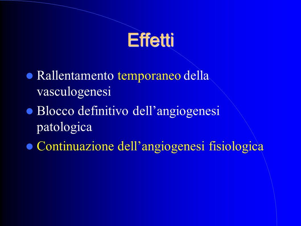 Effetti Rallentamento temporaneo della vasculogenesi Blocco definitivo dell'angiogenesi patologica Continuazione dell'angiogenesi fisiologica