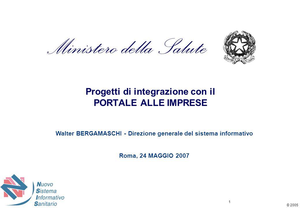 © 2005 1 Progetti di integrazione con il PORTALE ALLE IMPRESE Walter BERGAMASCHI - Direzione generale del sistema informativo Roma, 24 MAGGIO 2007