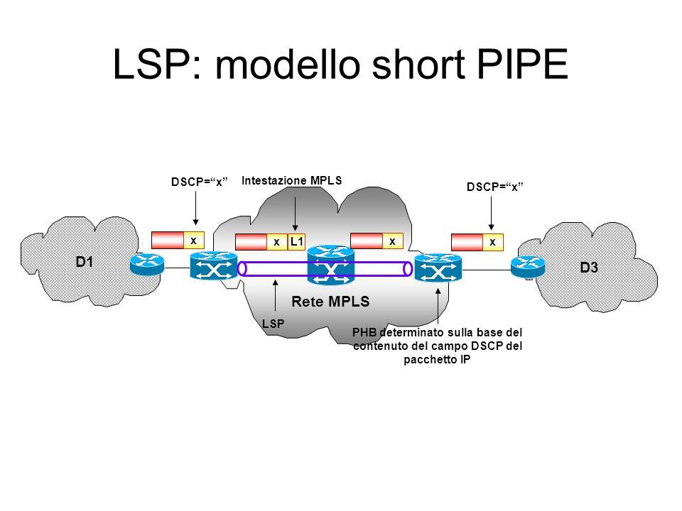 """Rete MPLS D1 D3 x L1 x x DSCP=""""x"""" Intestazione MPLS LSP x L2 PHB determinato sulla base del contenuto dell'elemento esterno dell'intestazione MPLS LSP"""