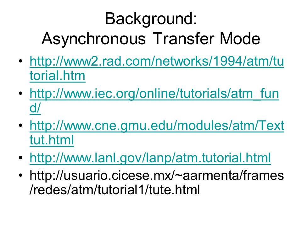 Background: integrazione del trasporto del traffico ISDN B-ISDN ATM (Asynchronous Transfer Model) - Elevata velocità di commutazione - Possibilità dif