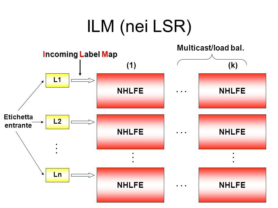 FTN (negli Edge_LSR) FEC1FEC2 NHLFENHLFE... NHLFENHLFE FECn NHLFENHLFE... (1)(k) FEC-To-NHLFE... Classificazione in FEC Multicast/load bal.