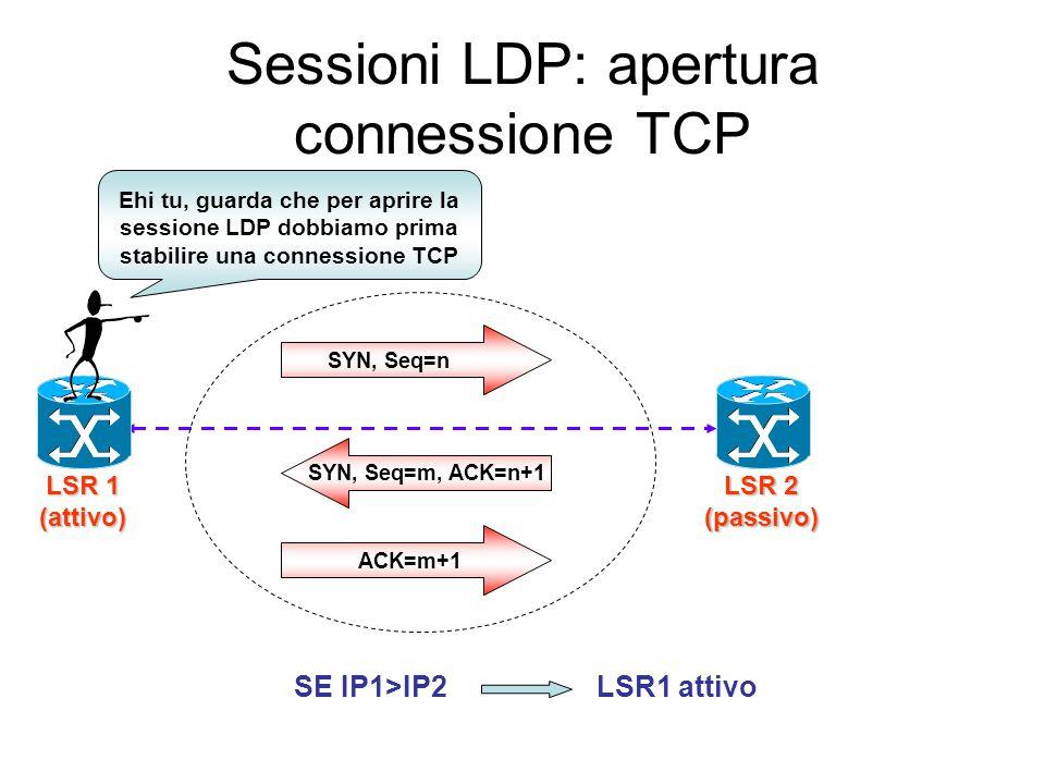 Meccanismo di discovery LSR A LSR B LSR D Rete MPLS Hello Hello Hello Hello LSR C Base Esteso Meccanismo base: utilizza IP address 224.0.0.2 e Hold Ti