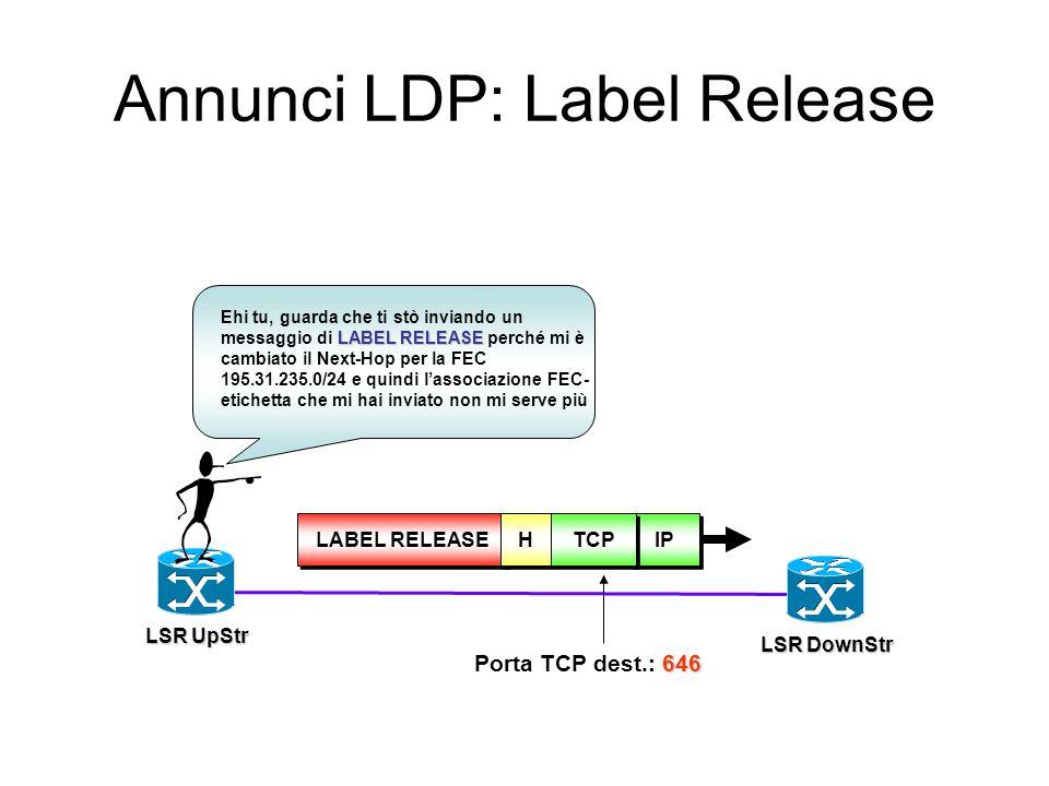 Annunci LDP: Label Withdraw IPIPTCPTCP 646 Porta TCP dest.: 646 HH LABEL WITHDRAW Ehi tu, ritiro quanto fatto in precedenza per la FEC 195.31.235.0/24