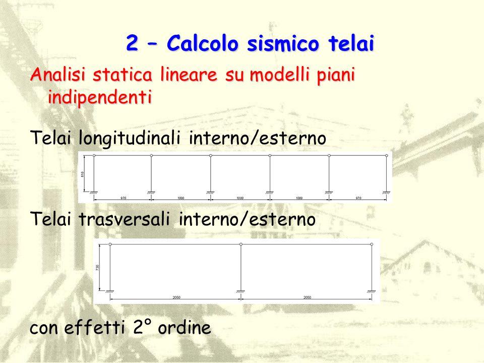 Analisi statica lineare su modelli piani indipendenti Telai longitudinali interno/esterno Telai trasversali interno/esterno con effetti 2° ordine 2 –