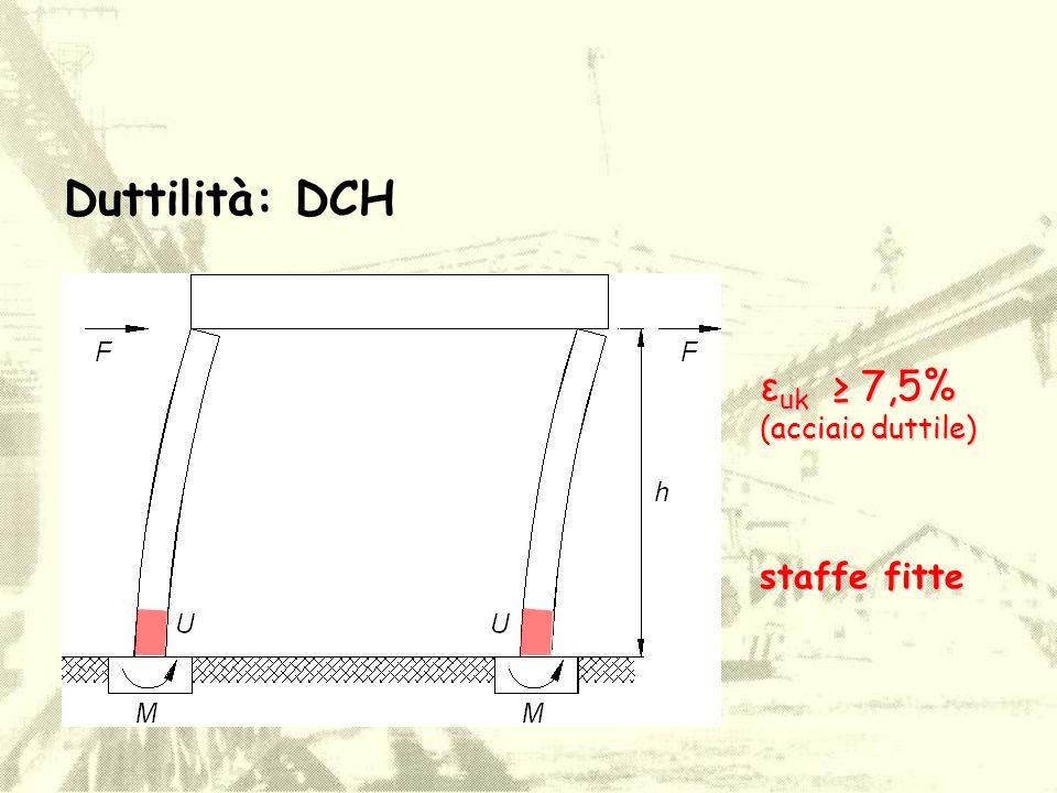 Duttilità: DCH ε uk ≥ 7,5% (acciaio duttile) staffe fitte
