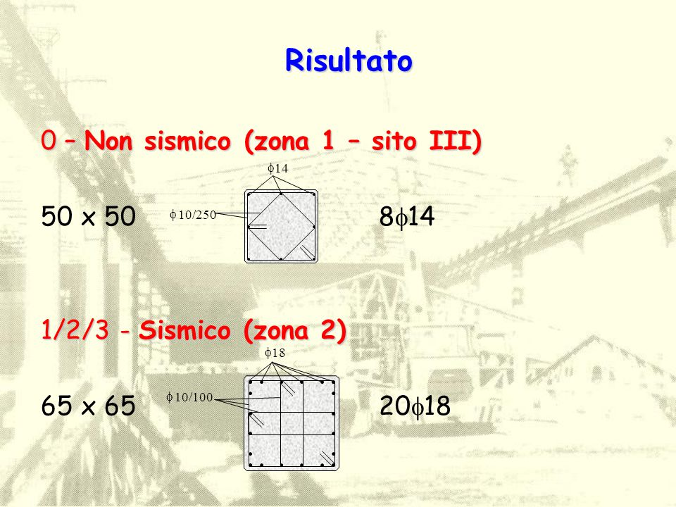 0 – Non sismico (zona 1 – sito III) Risultato  10/100  18 65 x 65 20  18  14  10/250 50 x 50 8  14 1/2/3 - Sismico (zona 2)